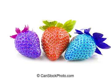 multi colored strawberries with white isolated background