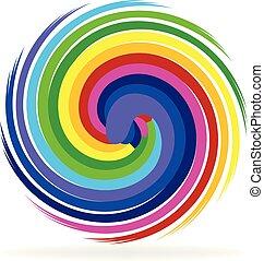 multi-colored, swirly, cerchio, icona