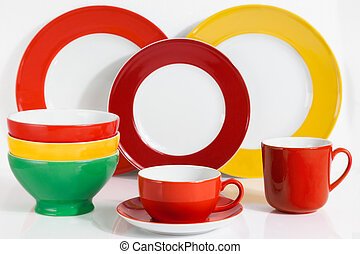 Multi Colored tableware - Set of Multi Colored Dishware on...