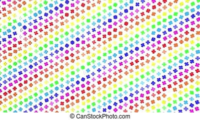 Multi-colored three-dimensional figures from cubes slowly fly on a white. 3d render