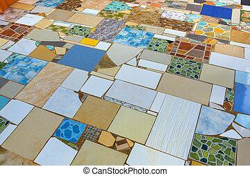 Multi-colored tiles.