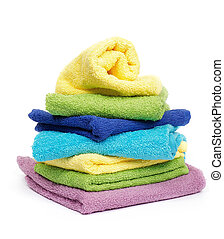 Multi-colored towels - Multi-colored Terry towels isolated...