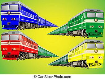 Multi-colored train - Railway equipment. Colorful modern...