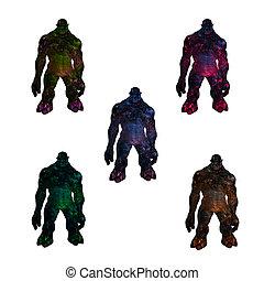 Multi Colored Trolls Standing - Multi colored trolls...
