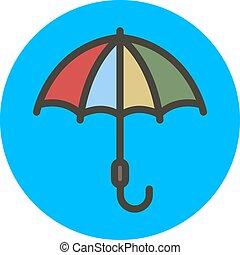 Multi-colored umbrella. Vector flat style