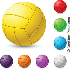 Multi-colored volleyball realiste. Illustration on white...