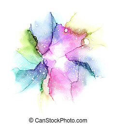 Multi colored watercolor galaxy background. Raster illustration. Alcohol ink art.