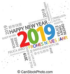 word cloud with new year 2019 greetings - multi colored word...