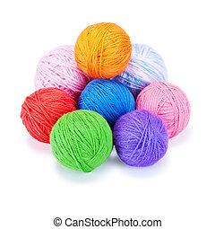 multi-colorido, bolas, woolen, vários