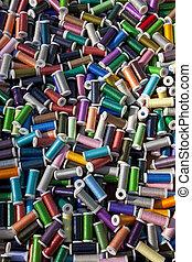 multi coloriu, algodão, carretéis