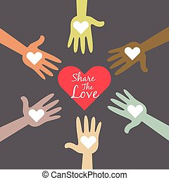 multi coloriu, mãos, compartilhar, amor, símbolo