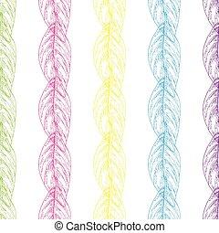 multi coloriu, padrão, folhas, esboço, seamless, experiência., vetorial, branca, qualquer, fundo, design.