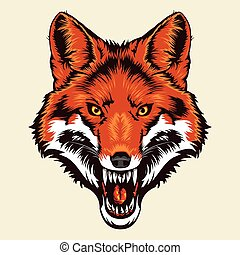 angry fox head - Multi Colors Illustration of angry fox head...