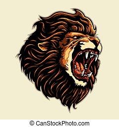 angry lion head