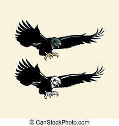 Flying Eagle Mascot - Multi Colors Illustration Of Flying...