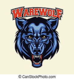 Multi Colors Illustration Of Werewolf Head Mascot