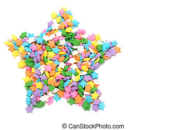 Multi colors stars candy forming star shape