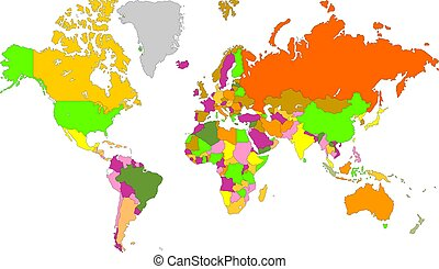 Multi Colors World Map - The world wide map in multi colors...