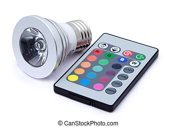 Multi colour LED light bulb and remote control with some...