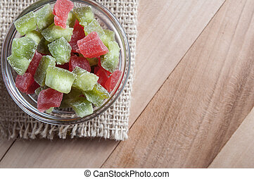 Multi-coloured candied fruits