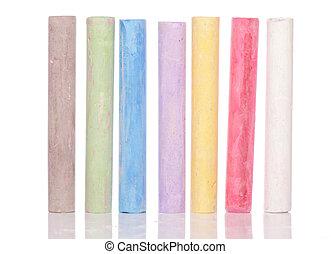 Multi coloured chalk isolated on white background
