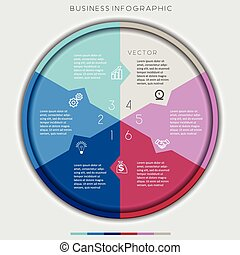 multi-coloured circle numbered, six options