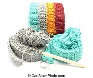 multi-coloured, crochet-work