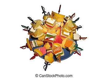 Multi-coloured dessert from fruit c