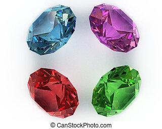 Multi-coloured gemstones - Multi-coloured faceted gemstones....