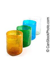 Multi coloured glass cups