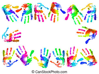 Multi coloured handprints - Multi coloured painted...