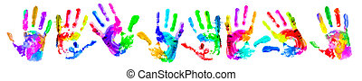 Multi coloured handprints - Multi coloured painted ...