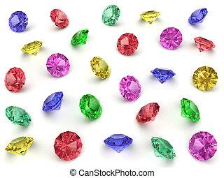 multi-coloured, különféle, drágakövek