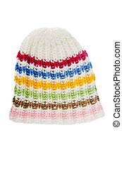 multi-coloured knitted hat, isolated on white