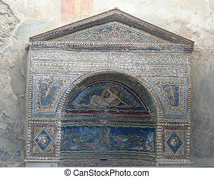 Multi-coloured mosaics at Pompeii - Multi-colored mosaics at...