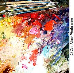 Multi-coloured oil paints