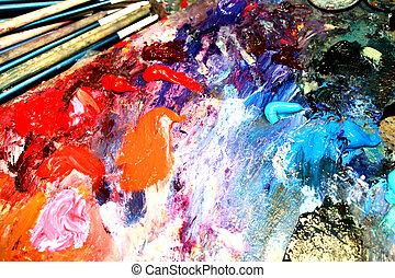 Multi-coloured oily paints