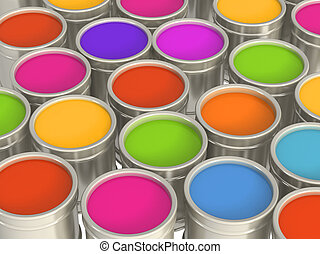 Multi-coloured paints in metal banks