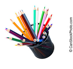 Multi-coloured pencils in a basket. On a white background.