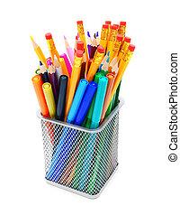 Multi-coloured pencils.