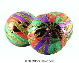 multi-coloured - Three multi-coloured christmas spheres