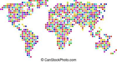 polka dot map - multi coloured polka dot map