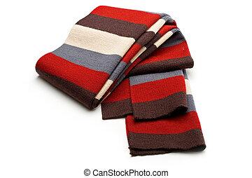 Multi-coloured scarf on white