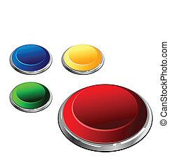 multi-coloured, set, -, illustrazione, bottoni, vettore