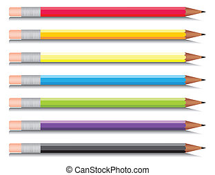 multi-coloured, sete, jogo, lápis, colours., vetorial, ...