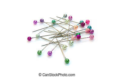 Multi-coloured sewing pins - Heap of multi-coloured sewing...