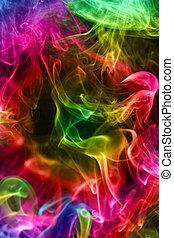 Multi-coloured smoke. Background. - Multi-coloured smoke on...