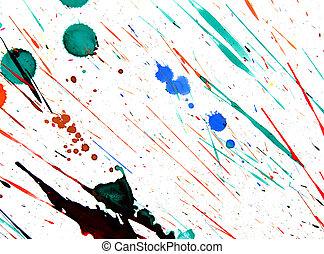 Multi-coloured splashes on a white background.