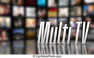 multi, concept, écran tv, lcd, panneaux