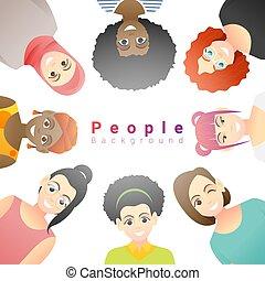 multi, concept, groupe, fond, diversité ethnique, femmes heureuses